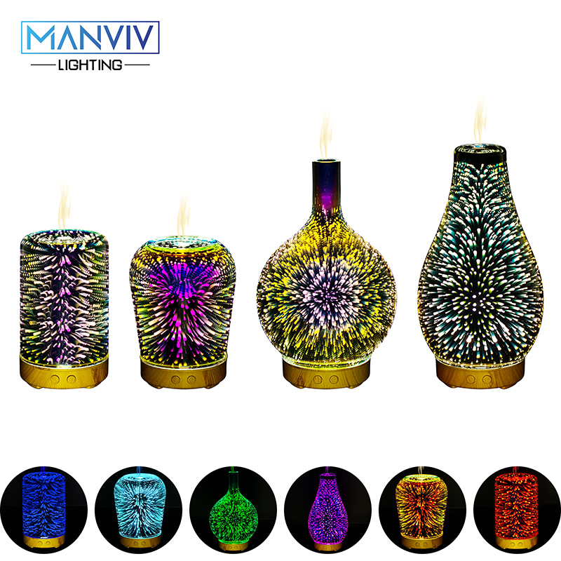 LED Holiday Light 3D Decorative Colorful Changing Lamp AC 85-265V Humidifier Light Essential Oil Fragrance Lamp Night Light