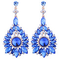 Fashion Jewelry Full Glass Crystal Flower Drop Earrings Big Dangle Earrings for Women Wedding Party