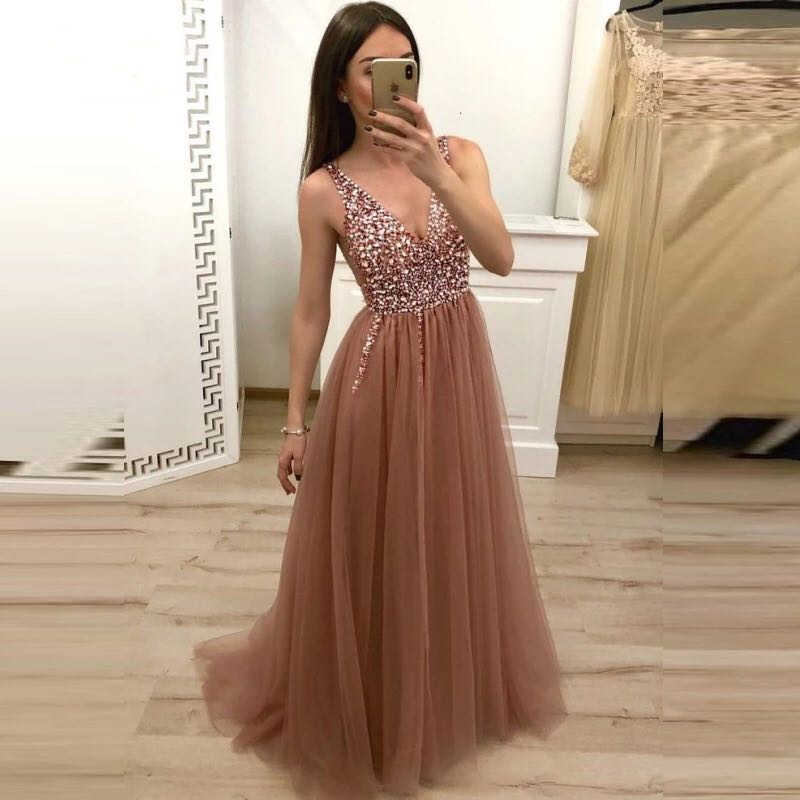 Sexy Deep V Neck Pink High Split Tulle   Prom     Dresses   Long 2019 vestidos de fiesta Lace Up Backless Beaded Imported Party   Dress