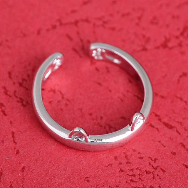 Silver Plated Cat Ears & Paws Ring
