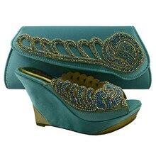 Kostenloser Versand Großhandel Italienische Passenden wasser grün Schuh und Tasche Set für Party 11 cm high heel size38-42 KK1-39