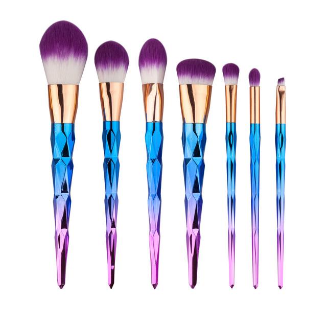 7pcs Diamond Shape Rainbow Handle Makeup Brushes Set Foundation Powder Blush EyeShadow Lip Brush kwasten Beauty