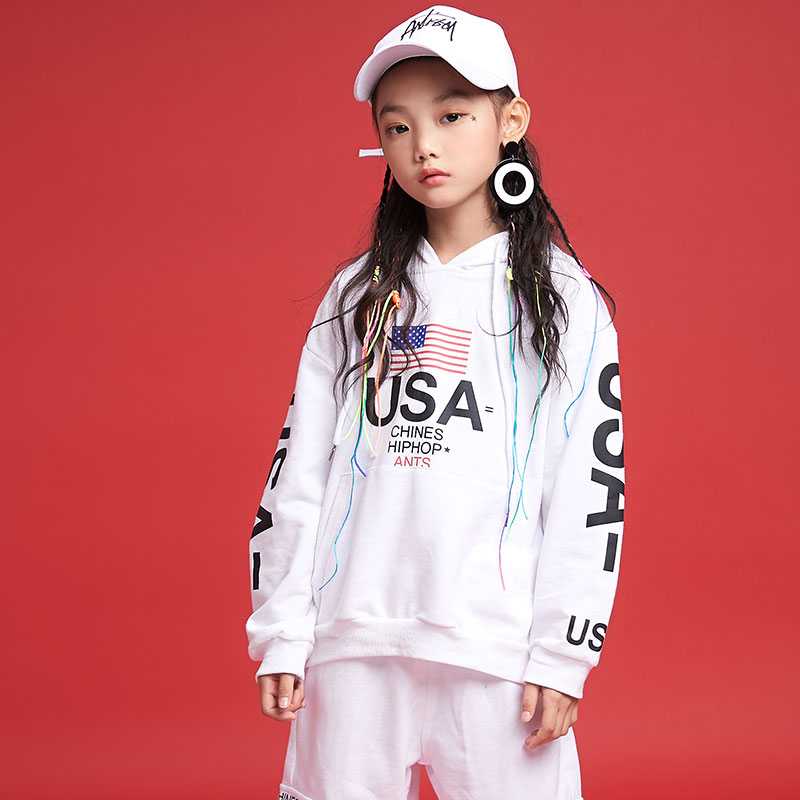 New Hip Hop Kids Jazz Dance Costumes Girls White Outfit Street Dance Clothing Girls Stage Performance Dance Wear Suits DQS1050