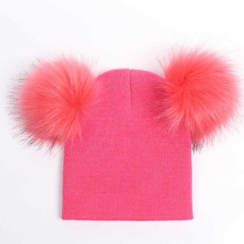 2019 ใหม่เด็กถักหมวกฤดูใบไม้ร่วงฤดูหนาวเด็กทารกหมวกหมวกเด็กหมวกผ้าพันคอเด็กวัยหัดเดินเด็ก Beanies ขนสัตว์ Pom Pom หมวก 1-4Y อุปกรณ์เสริม