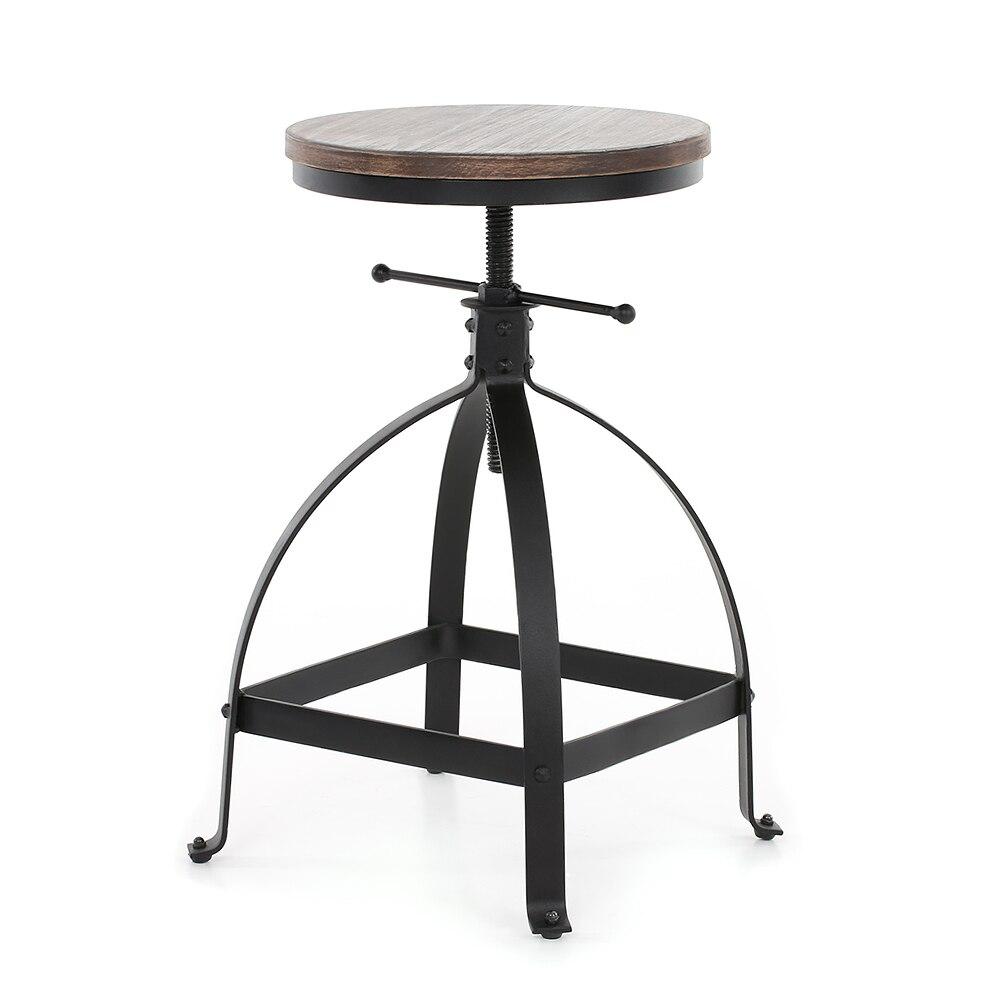 Bar Stools Ikayaa Industrial Style Adjustable Height Swivel Kitchen Dining Breakfast Chair Natural Pinewood Top Bar Stool Bar Furniture