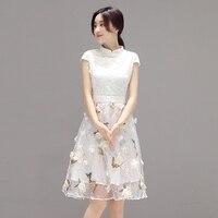 2016 Summer Sexy Lace Cheongsam Women Short Sleeve Mandarin Collar Chinese Wedding Dresses Qipao Cheongsam Short