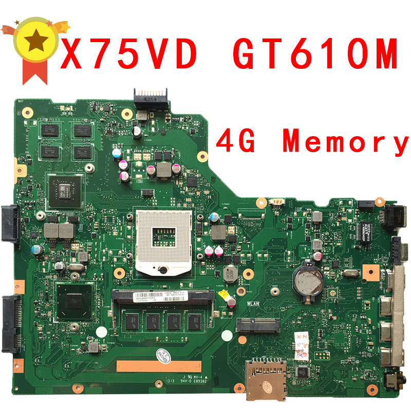 For ASUS X75VD R704V Laptop motherboard with 4GB RAM X75VD REV 2.0 PN:60NB1400 90R-NCOMB1400U 100% Tested !