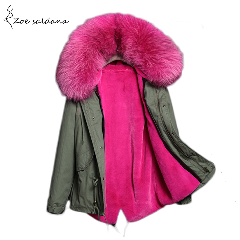 Zoe Saldana 2017 Winter Jacket Women Detachable Lining Natural Large Fur Hooded Army Green Cotton Coat Outwear Thick Warm Parkas zoe saldana 2017 warm fur hooded coat winter jacket women cotton padded parka fashion long slim outwear