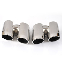 High quality 304 Stainless Steel Exhaust Tips Muffler Modified Tail throat Pipe For Porsche 14 Panamera 4S