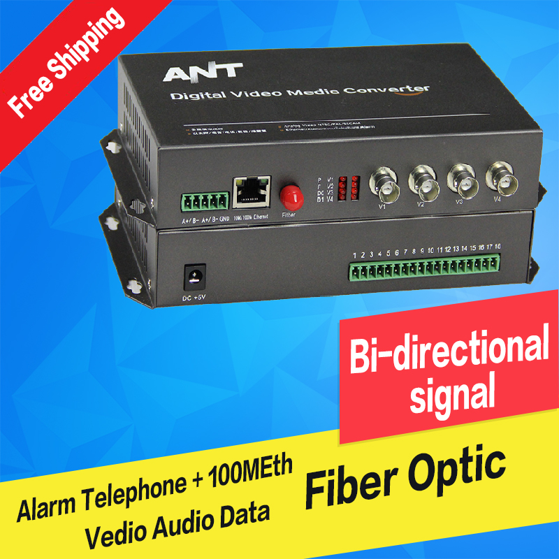 Fiber Optic Equipments Fast Deliver Fiber Optic Video Audio Data Alarm Ethernet Digital Transmitter & Receiver Single Mode Single Fiber Fc 20km For Cctv 4ch