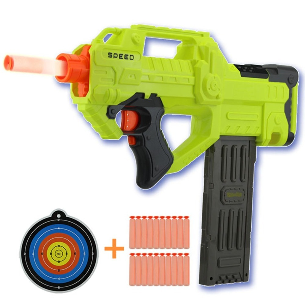 Chaud! OCDAY électrique balle molle jouet pistolet 10 M gamme Imitation costume pistolet Super lointain tir en plastique airsoft pistolet balles enfants jouets