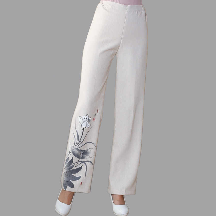 New Beige Spring and Autumn Ladies Trousers Chinese Traditional Style Women's Pants Size S M L XL XXL XXXL 4XL 2502-1