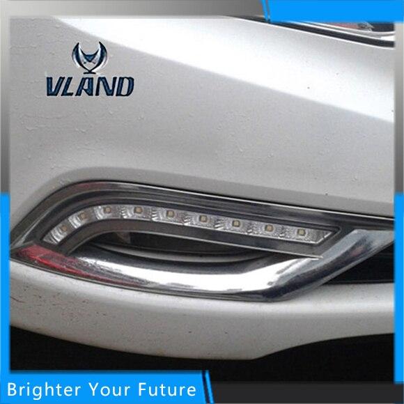 2Pcs ABS Daytime Running Lights For Hyundai SONATA 2011-2014 White+Yellow Turn Signal Lamp DRL багажник на крышу lux hyundai sonata тагаз 2001 2011 1 2м прямоугольные дуги 692971
