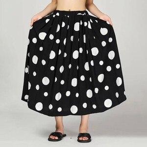 Image 4 - CHICEVER été décontracté Dot imprimer femmes jupe élastique taille haute poches grande taille ample mi mollet jupes plissées 2019 mode nouveau
