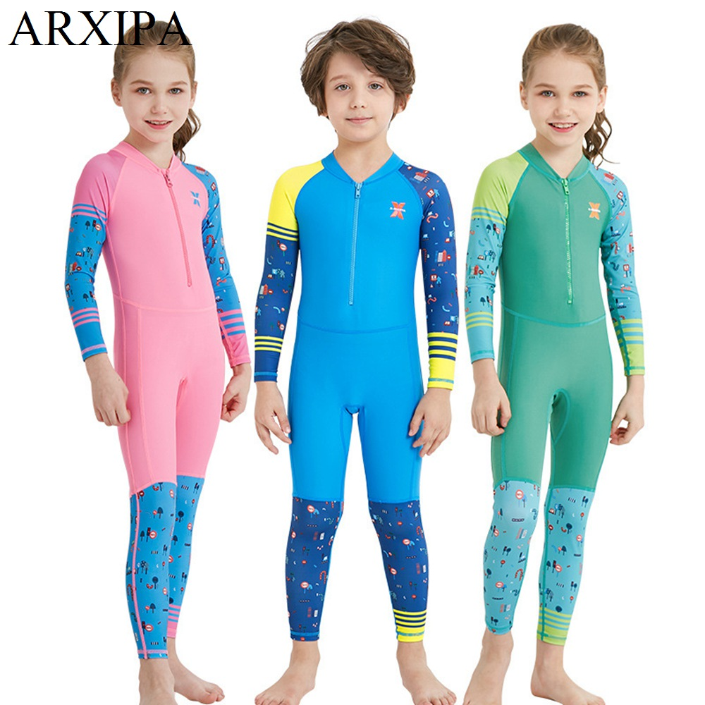 2019 Girl Boy Swimsuit Full Length Sleeve Diving Suit Bathing Child Wetsuit 1 Piece Zipper UV Protection Water Sport Surfing New(China)