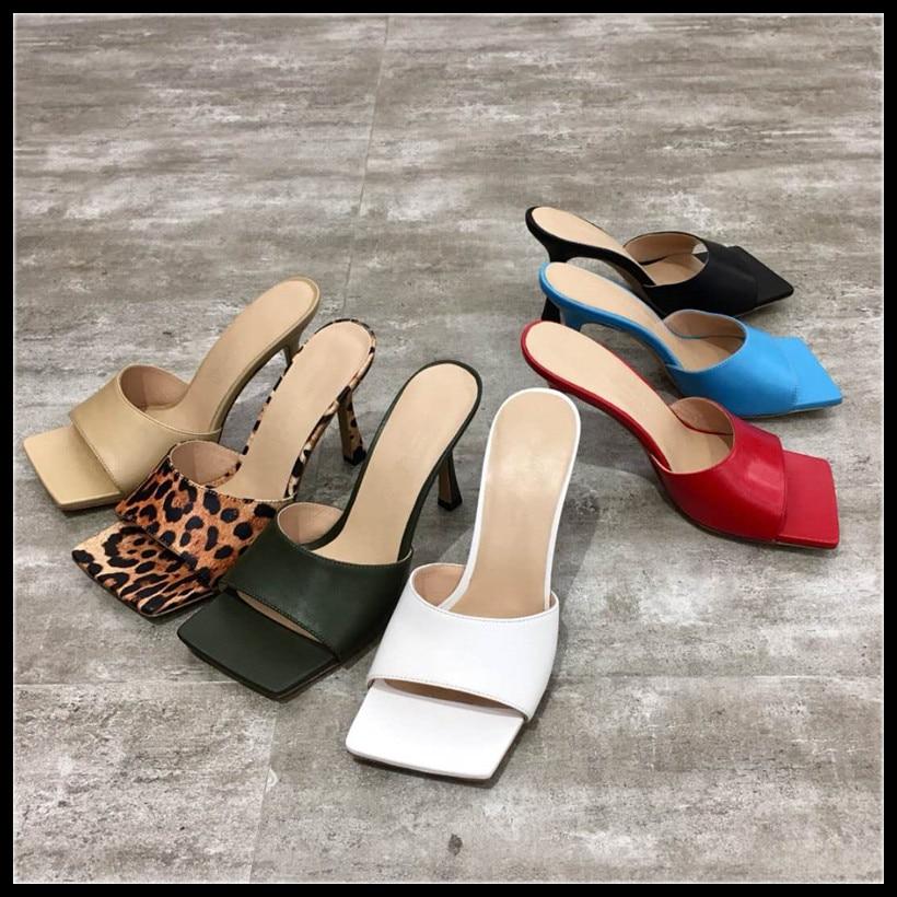 brand design women Mules leopard sandals leather square sole slides desginer high heel women shoes summer