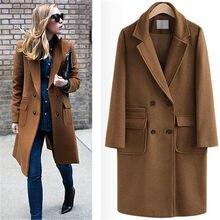 4e5494a4a73 UK 2018 Fall / Winter Women Notched lapel Single Button Simple Long Coat  style Career Overcoat manteau femme casaco feminino