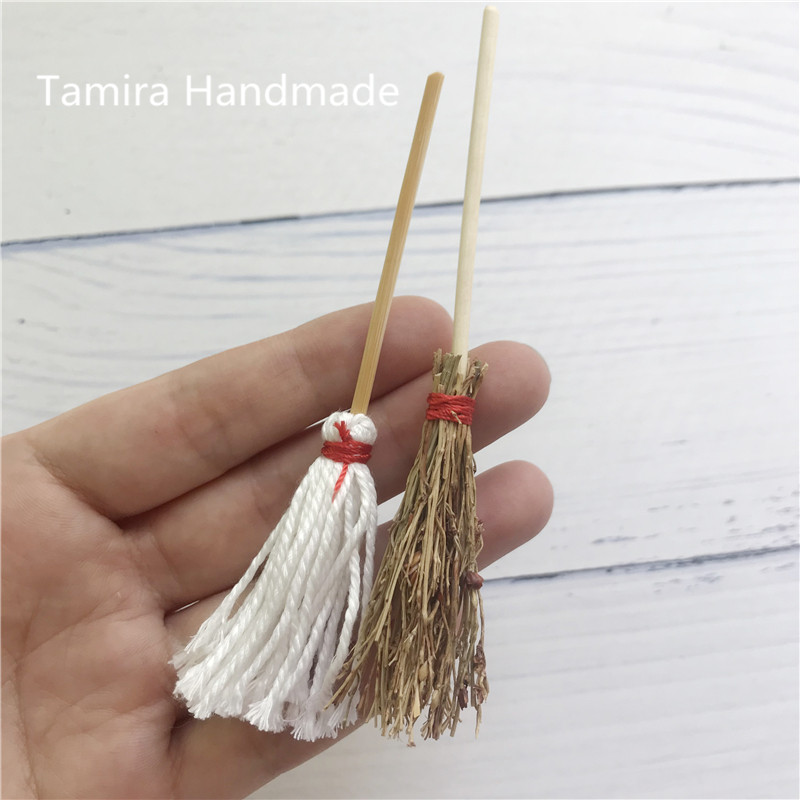 1:12 Miniature Mop Broom Great Gift For Kid Sliver Colour Pretended Play Magic Tooth Fairy Cleaning Set