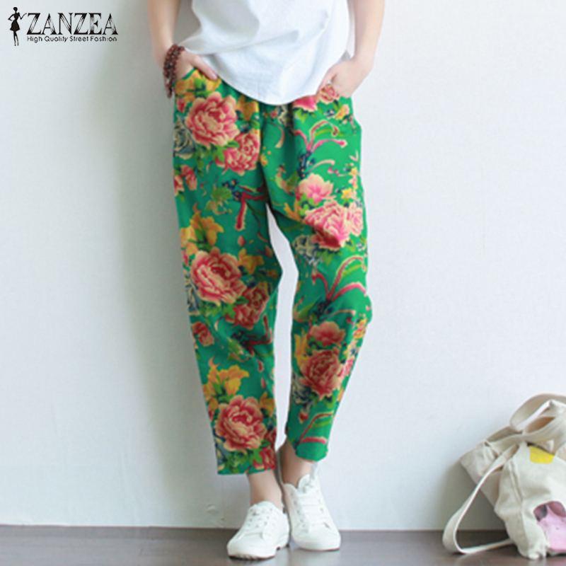 2019 ZANZEA casuales de las mujeres de algodón elástico de la cintura  pantalones de lino Harem Pantalon bata nabo pantalones Vintage flor impreso  Pantalones ab9410559006