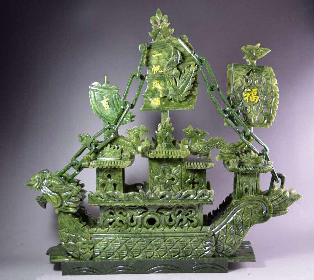 Большой китайский резной 100% натуральный нефрит Дракон Ладан Статуя Дракона лодка