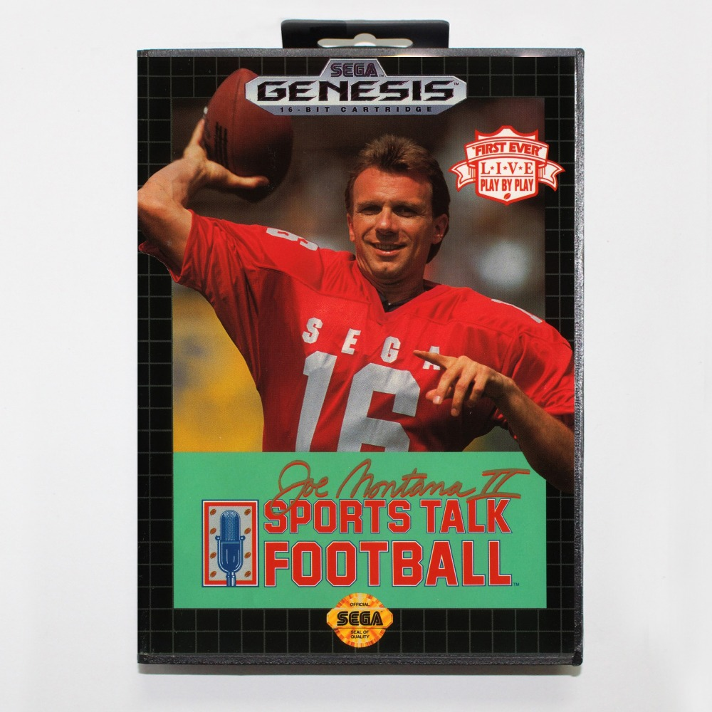 16 bit Sega MD game Cartridge with Retail box - Joe Montana 2 Sports Talk Football game cart for Megadrive for Genesis system