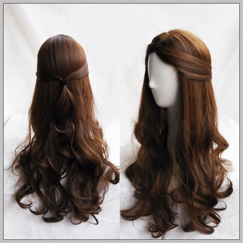 2018 The Nutcracker and The Four Realms Clara Wig Cosplay Costume Accessories 75cm Long Wavy Dark Brown Women Girls Movie Hair
