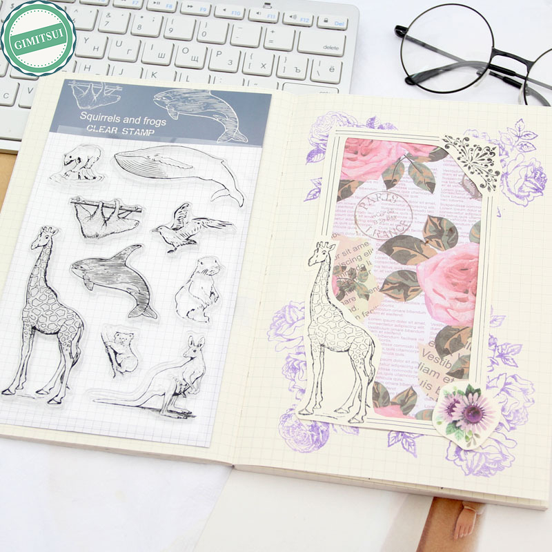 Diary Handbook Decoration Animal Post Stamper Silicone Rubber Stamp for Scrapbooking Album Design for DIY Photo Paper Card Craft lovely bear and star design clear transparent stamp rubber stamp for diy scrapbooking paper card photo album decor rm 037
