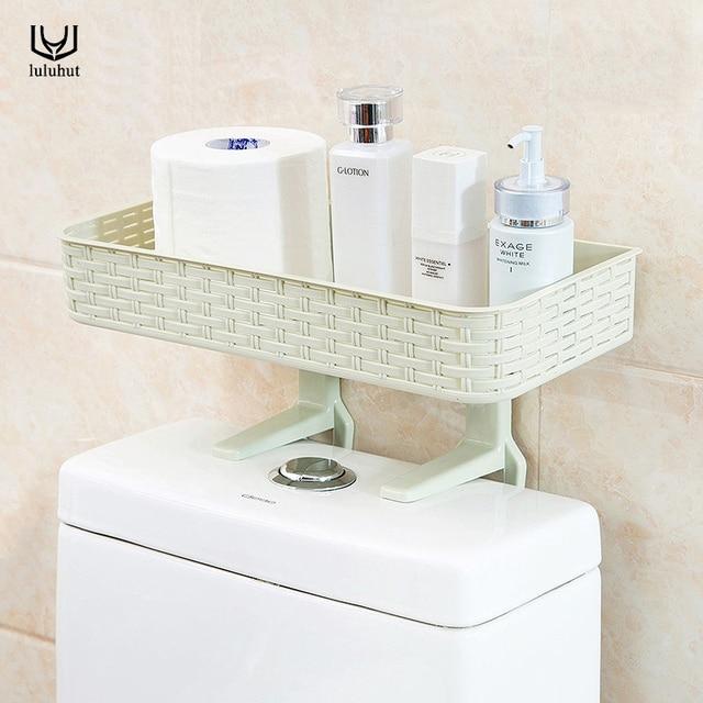 Luluhut Plastic Bathroom Shelf Wall Suction Napkin Holder Reusable Seamless Er Toilet Basket Hand