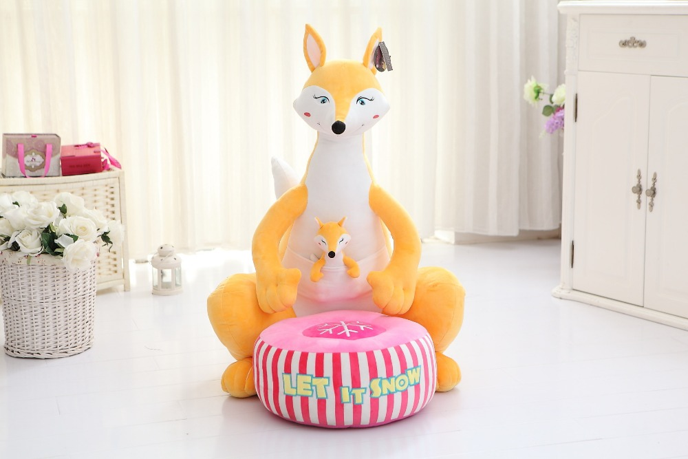 new yellow plush fox toy cartoon fox sofa children's tatami gift about 70cm колье с топазами и бриллиантами valtera 51368