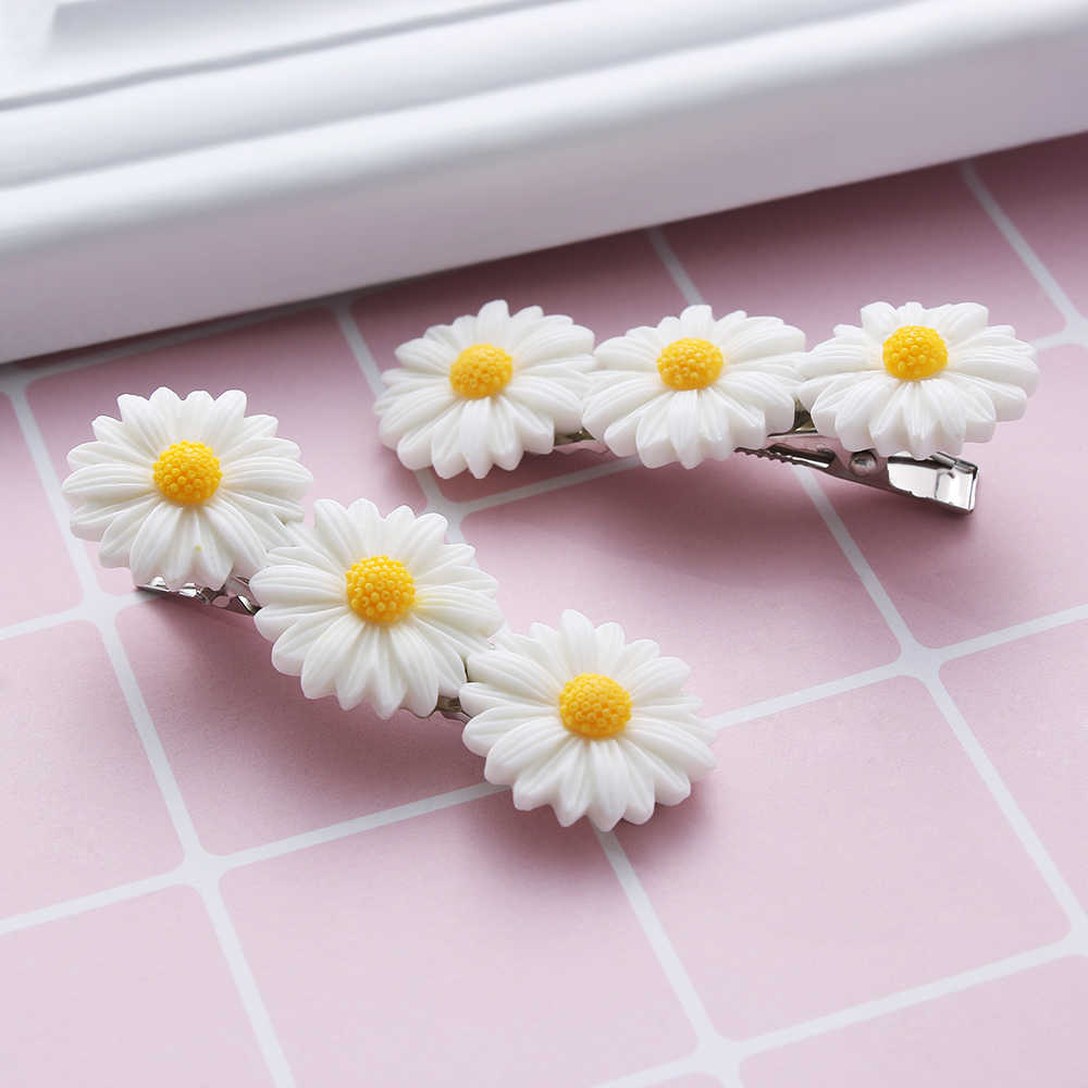 Baby Mini Sweet Daisy Flower Hair Clip Ring Elastic Rope Bands HairPins Ponytail Girls Kids Fashion Hairband Hair Accessories