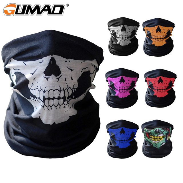 3D Skull Seamless Magic Neck Gaiter Face Mask Cover Shield Cycling Hiking Tactical Paintball Bandana Headband Scarf Men Women