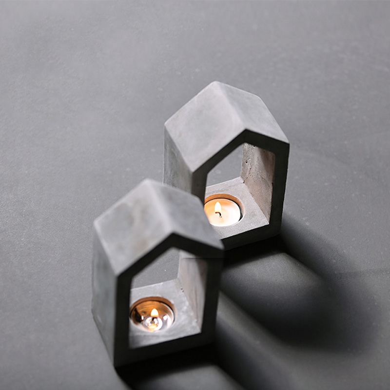 Concrete geometric house candlestick silicone mold cement candle holder mold plaster hand made mold
