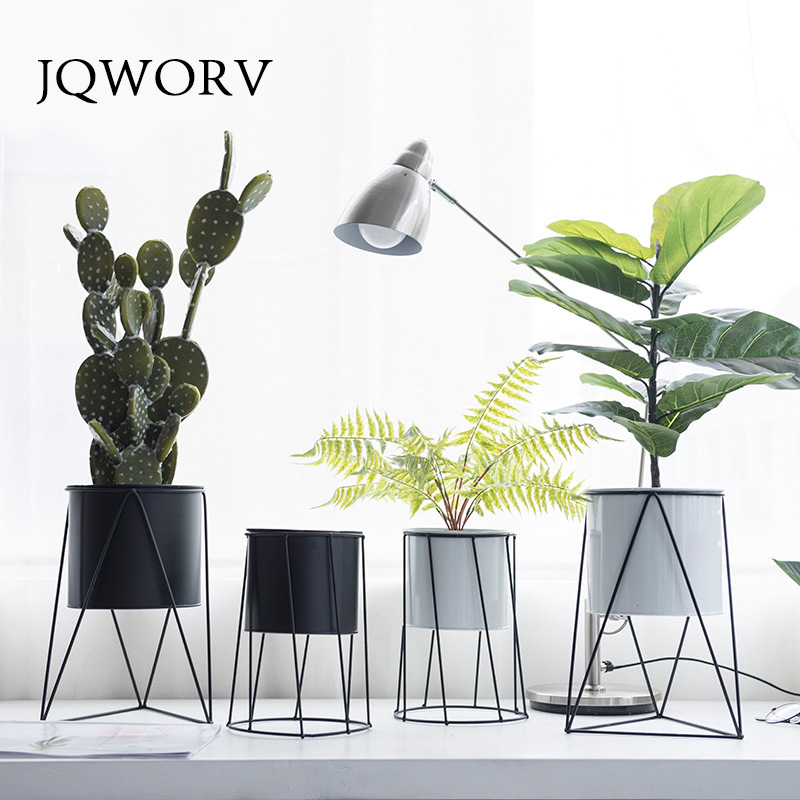 JQWORV Flower Pots Nordic Minimalist Geometry Iron Ceramic Succulent Pot Vanilla Green Plant Desktop Flower Pot for Home Decor