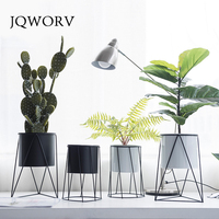 JQWORV Flower Pots Nordic Minimalist Geometry Iron Ceramic Succulent Pot Vanilla Green Plant Desktop Flower Pot for Home Decor