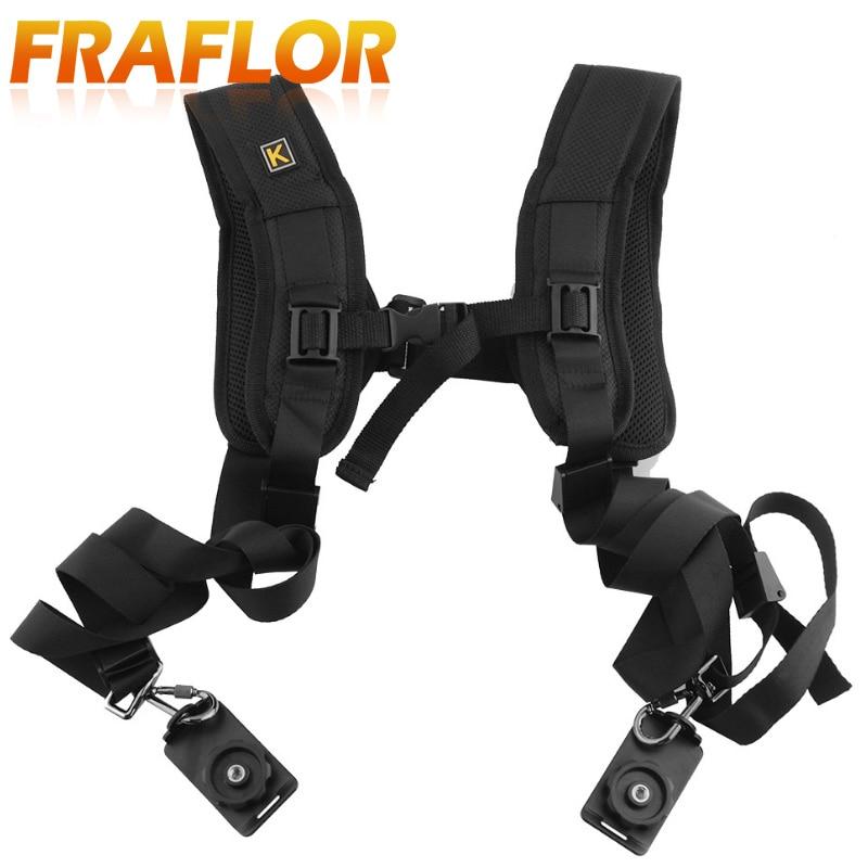 Cámara Digital rápida rápida Doble Dual Hombro Sling Cinturón Correa para SLR DSLR