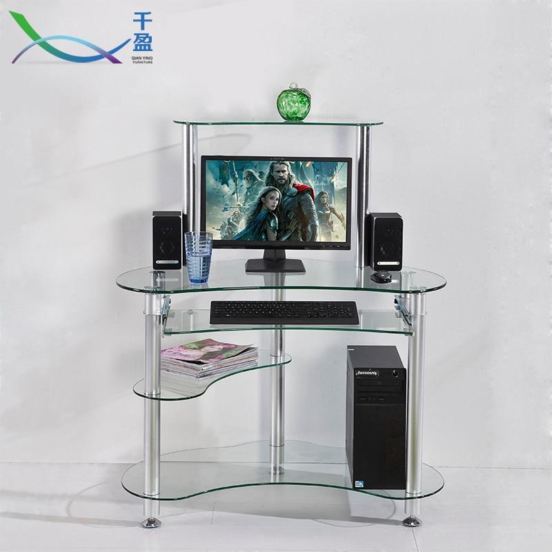 Simple home tempered glass office desktop computer desk for Minimalist home office desk