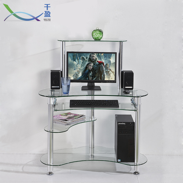 Simple Home Tempered Glass Office Desktop Computer Desk Minimalist Bookcase  Combination Of Student Writing Tables