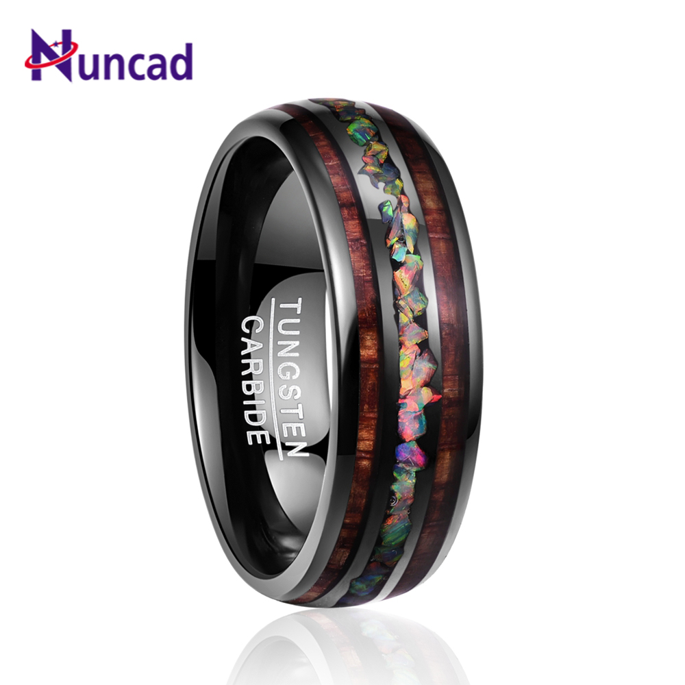 4d897746fc3e Nuncad ancho 8mm Domo negro de madera de Acacia ópalo anillo de carburo de tungsteno  hombres con anillos de boda para los amantes T097R