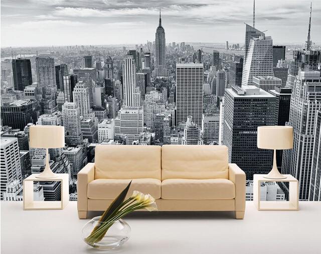 Aangepaste foto behang, Zwart wit new york landschap voor woonkamer ...
