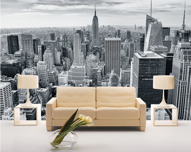 Custom  photo wallpaper, black and white New York city landscape for living room bedroom TV background wall waterproof wallpaper custom mural wallpaper european style 3d stereoscopic new york city bedroom living room tv backdrop photo wallpaper home decor