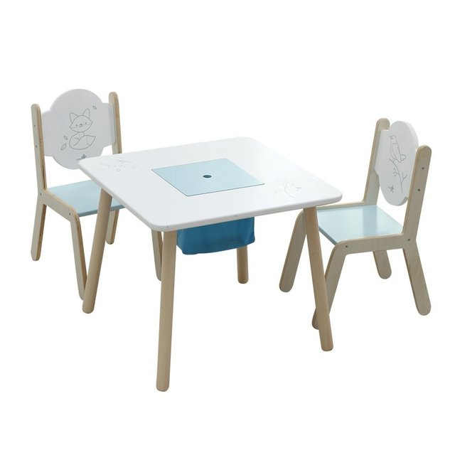 Labebe Wooden Activity Table Chair Set, Bird Printed White Toddler Table  With Bin For 1