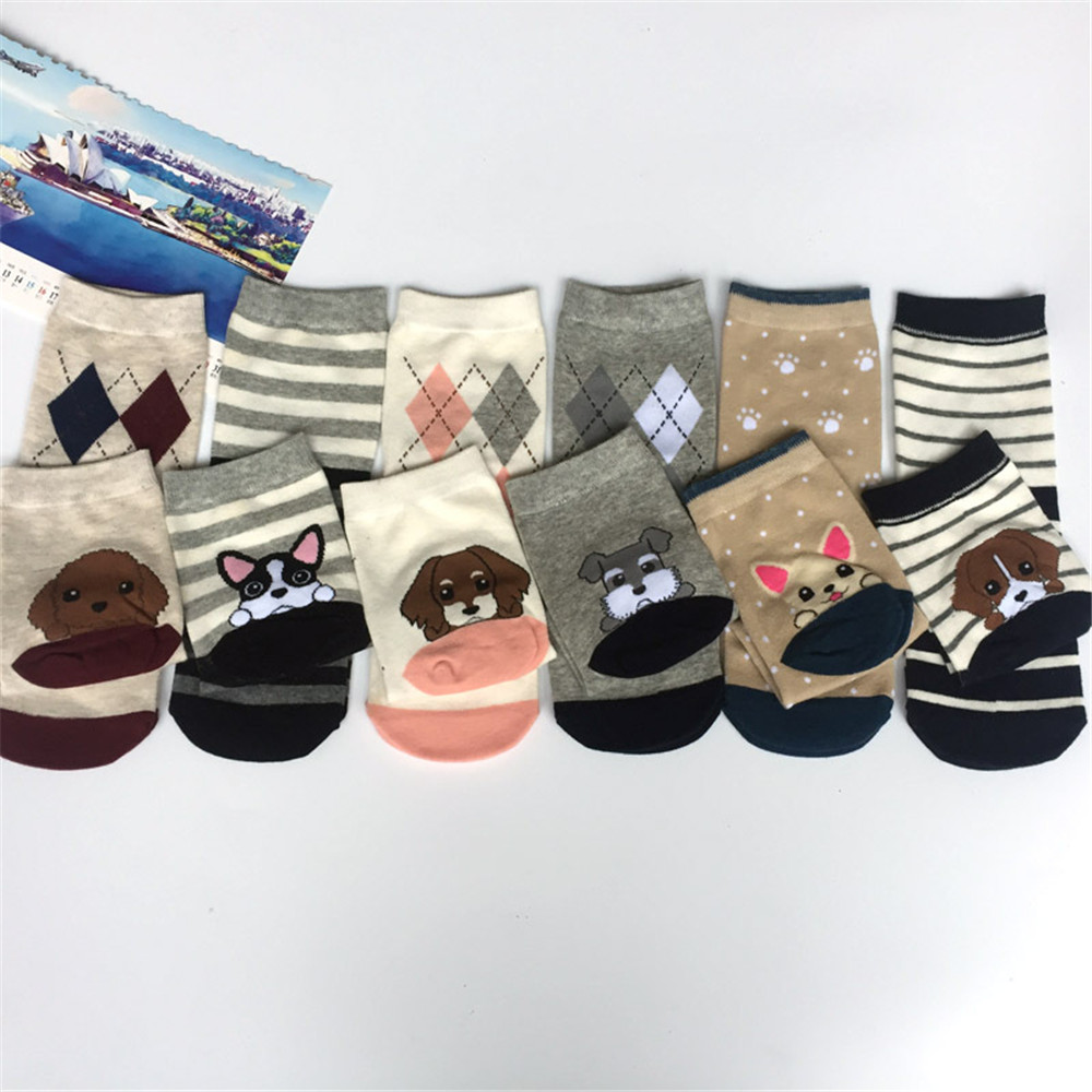 Women cartoon socks autumn-winter fashion animal socks ladies and women's funny cotton patterned dog  cosplay sock girl