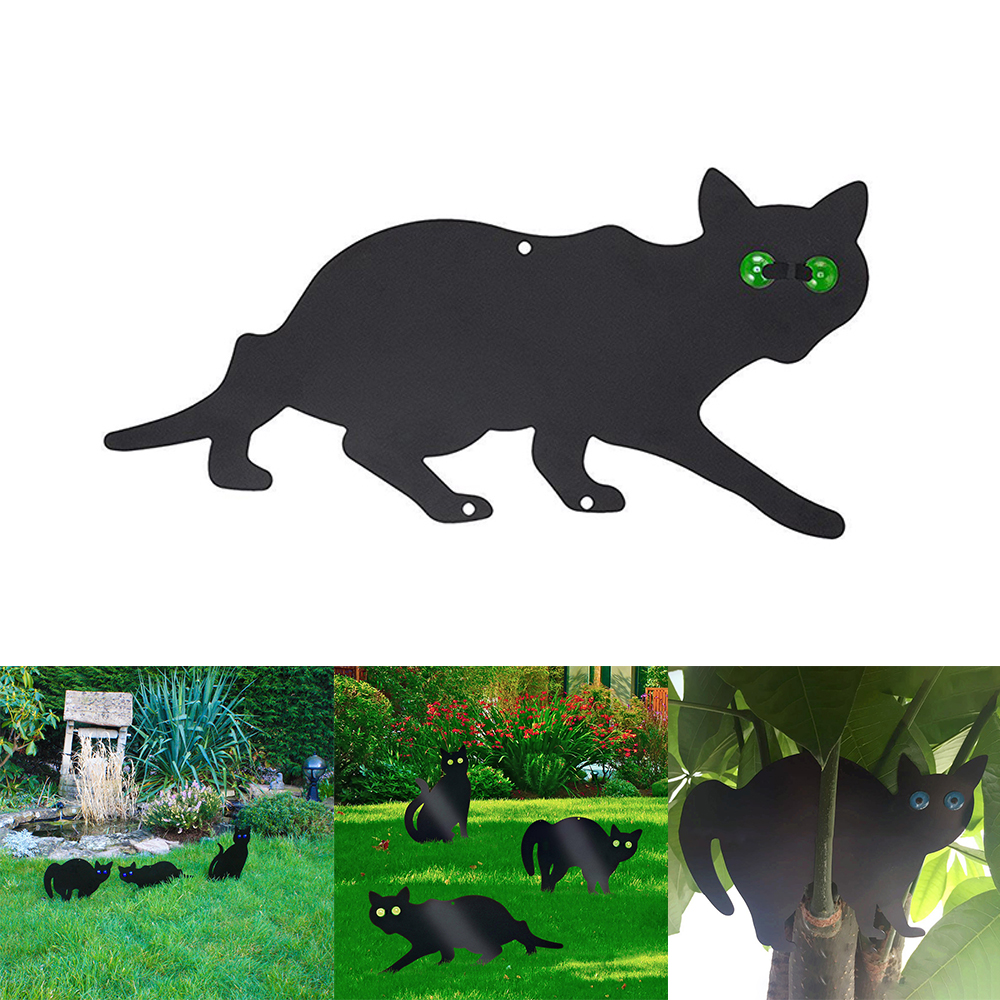 1Pcs Stop Pest Spikes Fixing Deterrent Protect With Eyes Black Rodents PVC Cat Shape Control Rustproof Bird Repel Garden Scarer