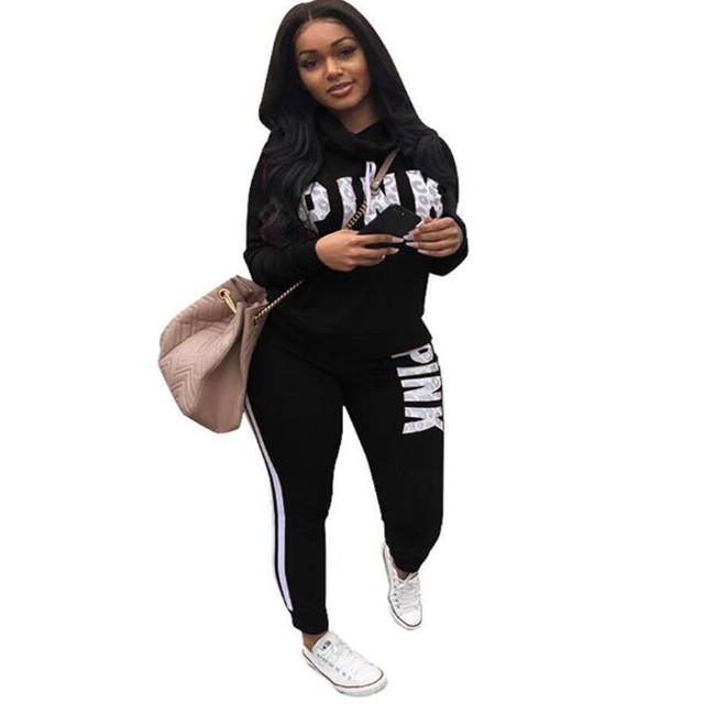5 COLORS Fashion sexy women casual Long sleeve letter pink Print two pieces suits casual nightclub party tracksuit S3266 S-3XL