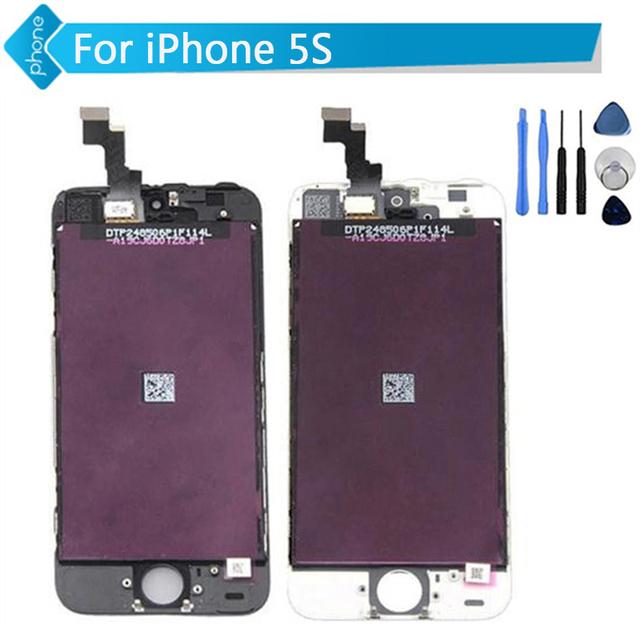 Para iphone 5 5s 5c pantalla lcd táctil digitalizador pantalla asamblea repalcement negro blanco + herramientas