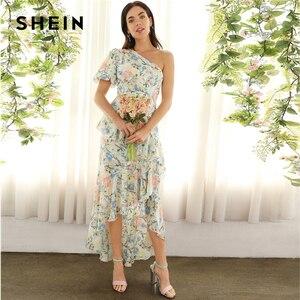 Image 4 - SHEIN glamour multicolore une épaule à volants asymétrique Dip ourlet Floral manches bouffantes robe crayon 2019 robes de printemps