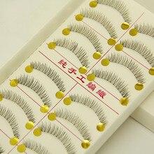 Hot Sale Natural False Eyelashes Short Thick Cross Lashes Mink Strip Black 3d Wimpers Extension Beauty Makeup Set 216#