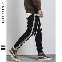 INFLATION Autumn Mens Sportswear Pants Stripe Side Contrast Color Letter Printing Highstreet Vintage Men Sweatpants 349W17