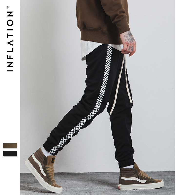 INFLATION 2017 Autumn Mens Sportswear Pants Stripe Side Contrast Color Letter Printing Highstreet Vintage Men Sweatpants