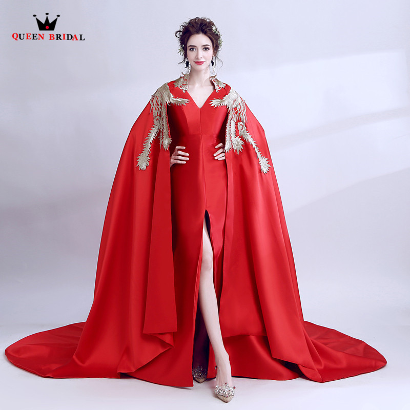Mermaid Slit Leg with Cape Satin Long Formal Elegant Red Evening ...